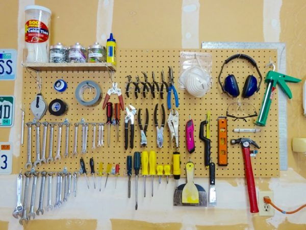 Organize tools with peg board