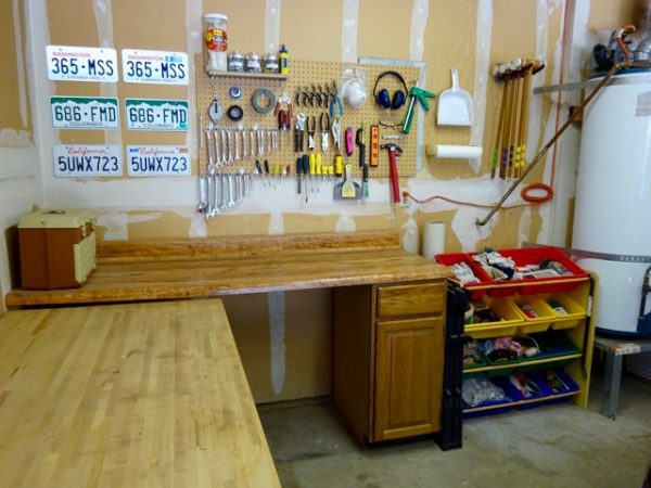 Repurpose cabinets for garage storage