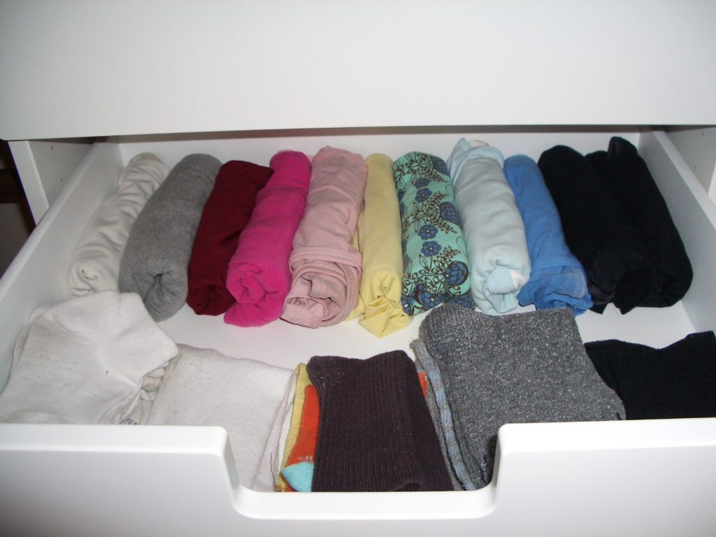 camisoles rolled up in drawer