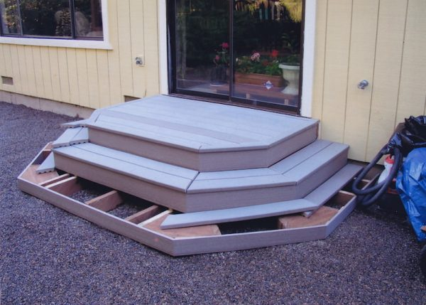 tiered steps on patio