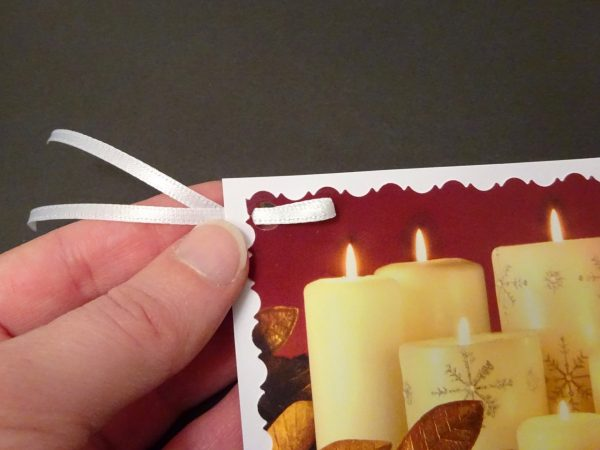 Tie ribbon to a gift tag