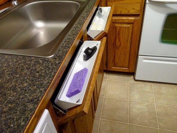 Extra kitchen storage in drawers under sink