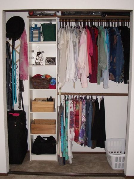 Double hanging bars in closet