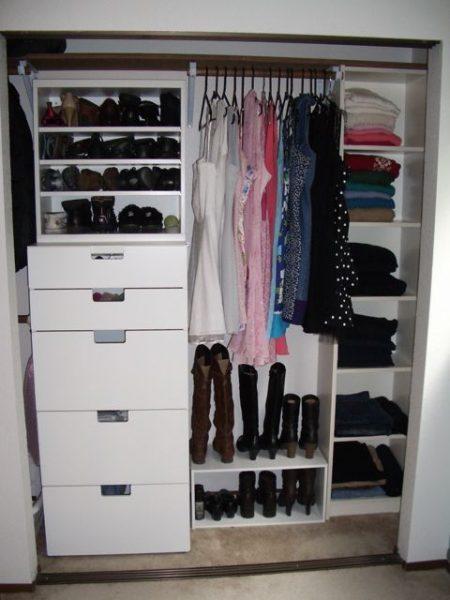 Organized closet shelves