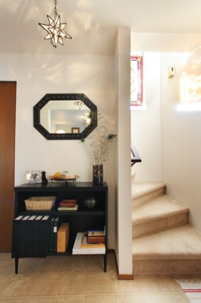 Entry way makeover with black table console