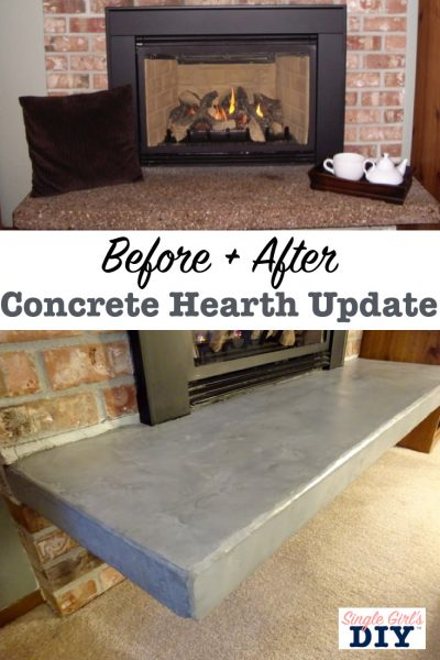 Before and after concrete hearth update