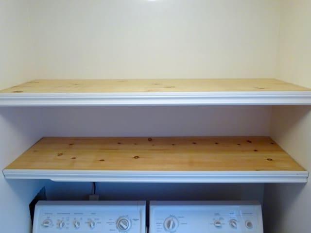 Built in wooden shelves