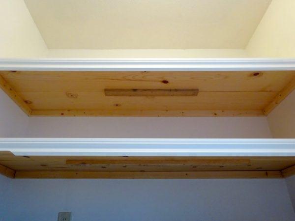 wood shelves using furring strips