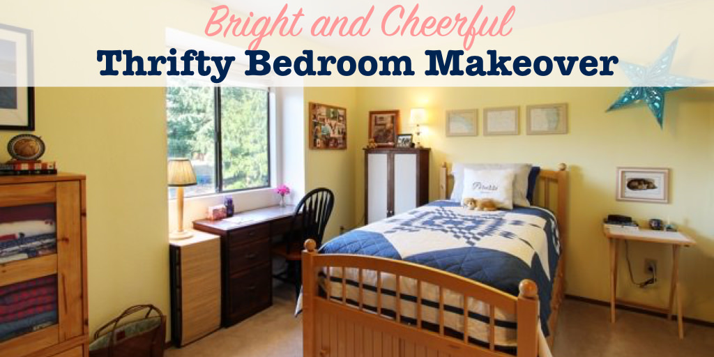 Bright and cheerful thrifty bedroom makeover