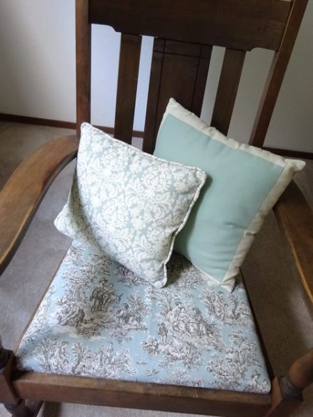 Rocking chair with pillows