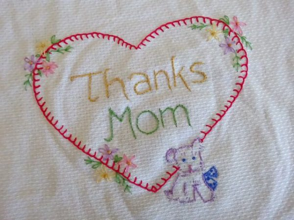 Embroidered heart for mom