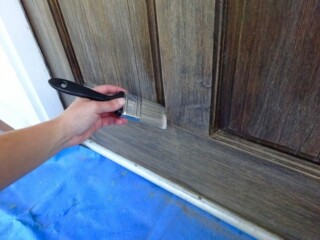 Clean a wood door before staining