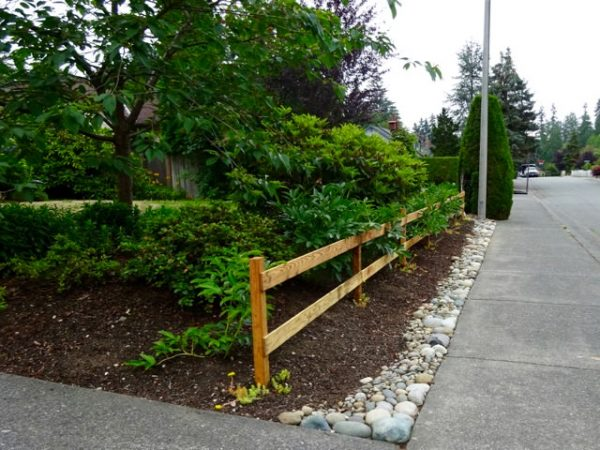 two-rail wood fence handmade