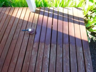 Stained deck boards