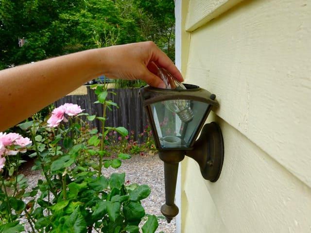 Replace exterior light bulbs