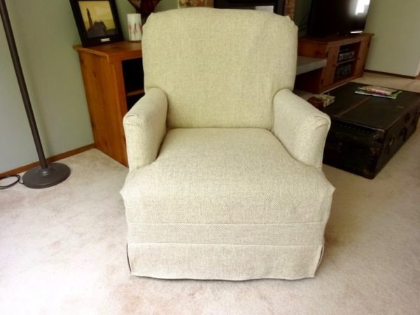 DIY fabric slip cover for a chair