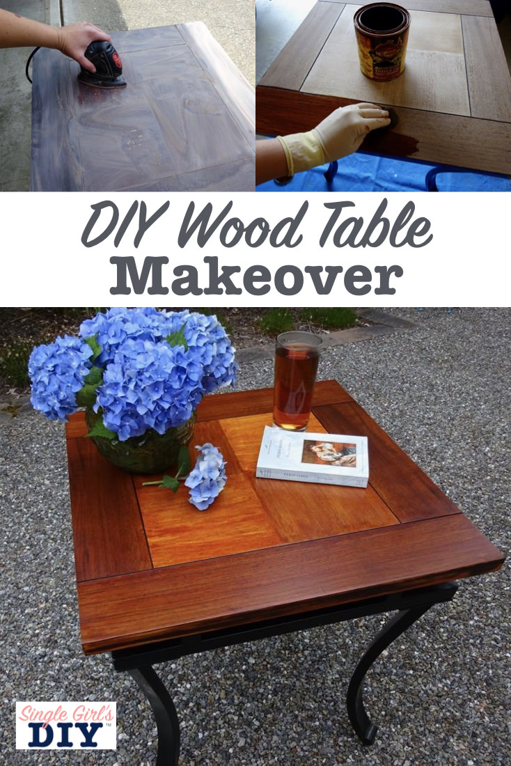 DIY wood table makeover