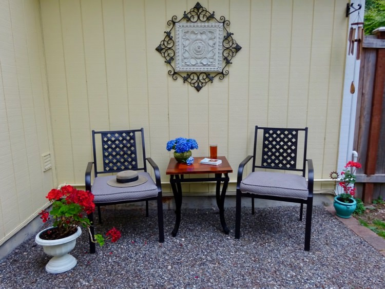 Outdoor seating area with table and chairs