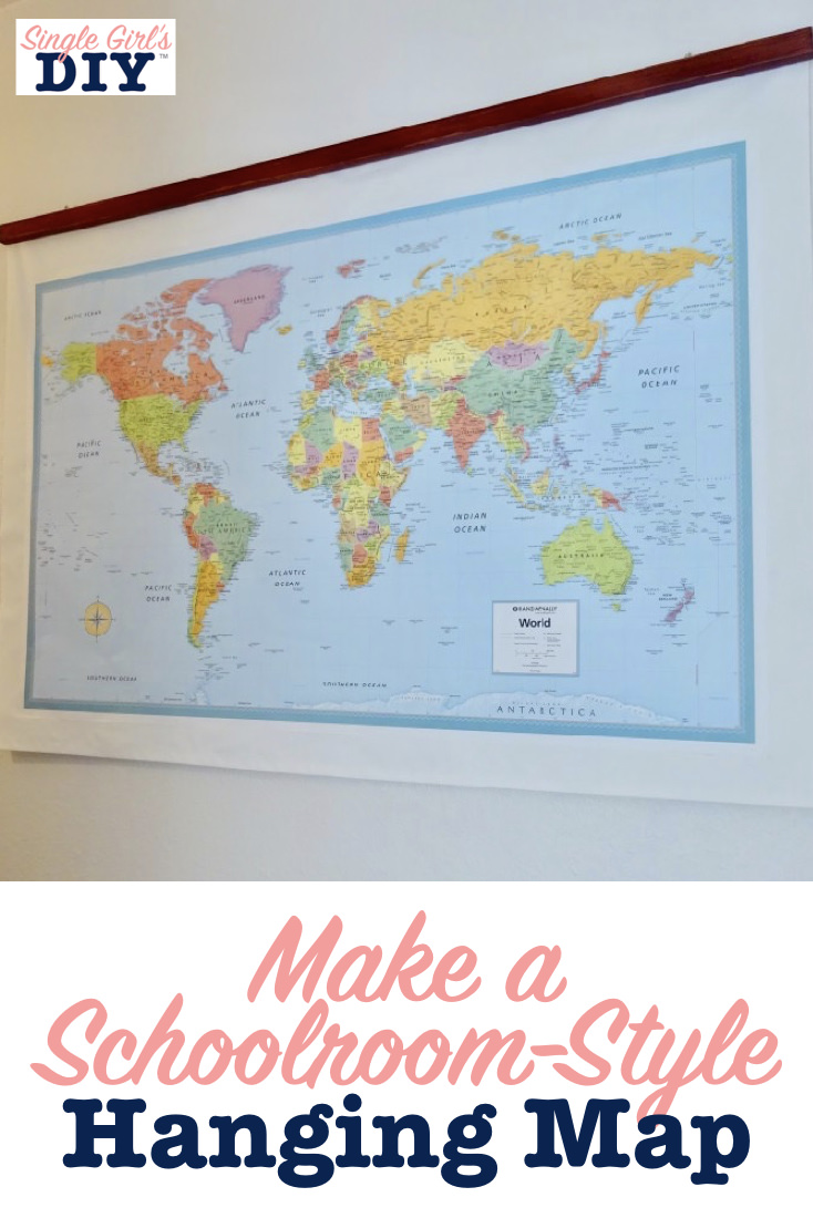 Make a schoolroom-style hanging map