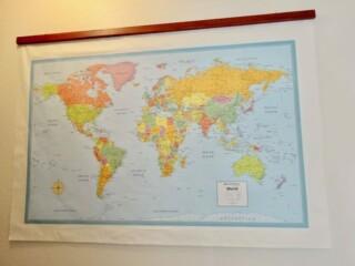 Schoolroom-style hanging map