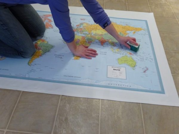 Gluing map to fabric
