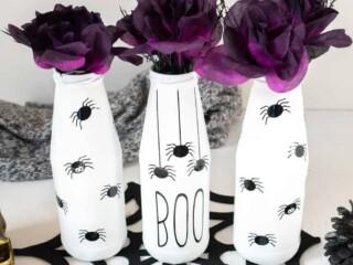 repurposed glass bottles into halloween vases
