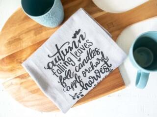 tea towel with iron on vinyl transfer
