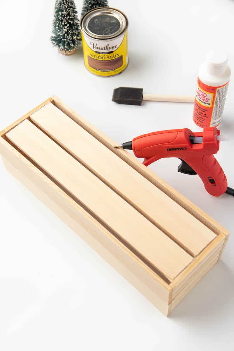 hot glueing wood crate