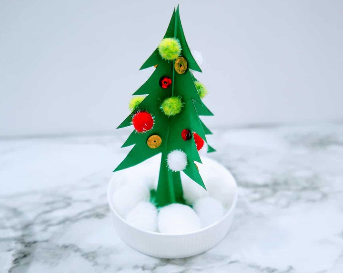 Christmas Tree Snow Globe Craft with Snow