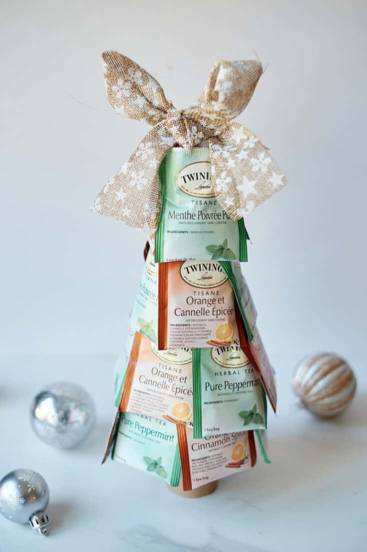 Christmas tree made out of tea bags