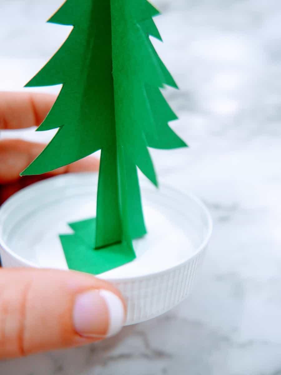 Constructing Paper Snow Globe Christmas Craft