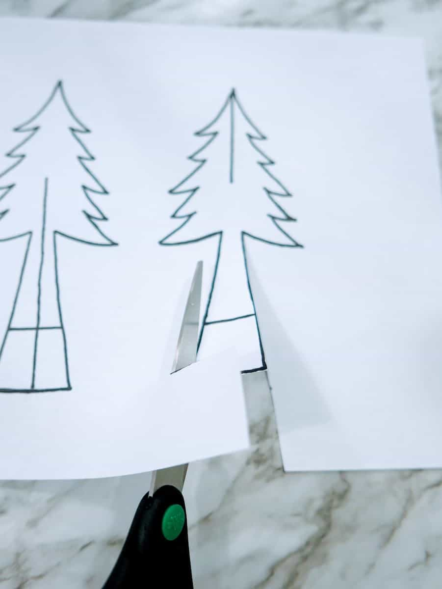 Cutting Christmas trees out of paper