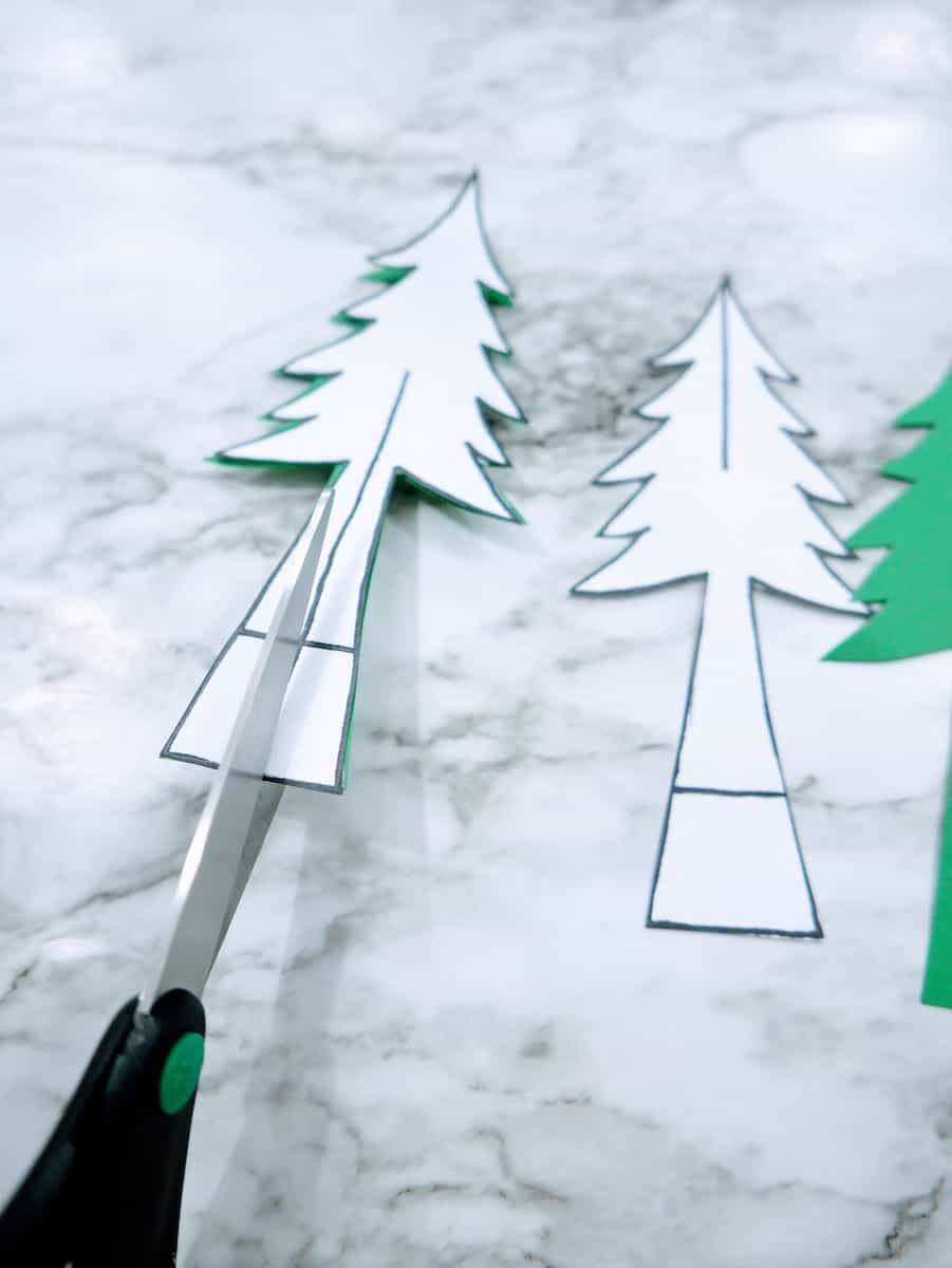 Cutting Paper Christmas Tree for Craft