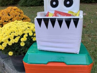 coolers turned into Halloween candy buckets