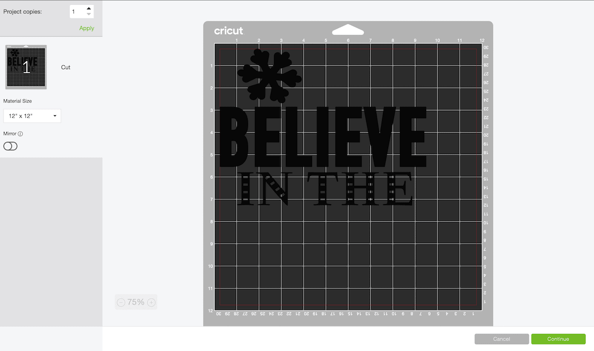 Cricut design program screen