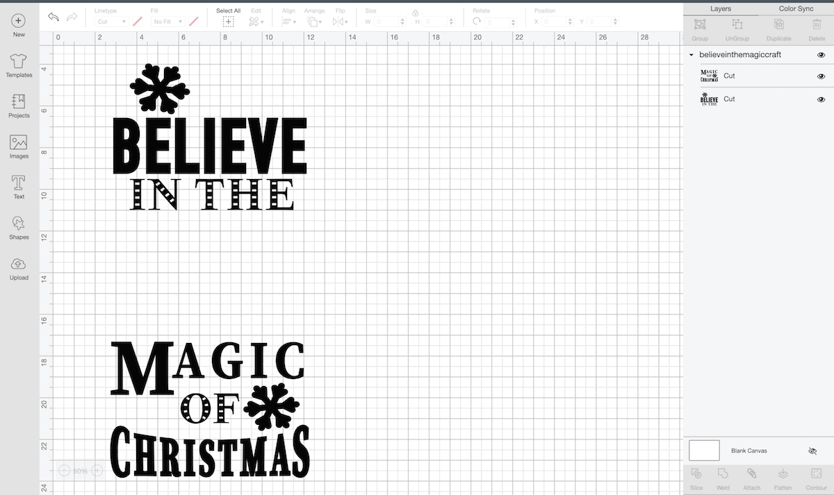 Cricut design program screen with Believe in the Magic of Christmas