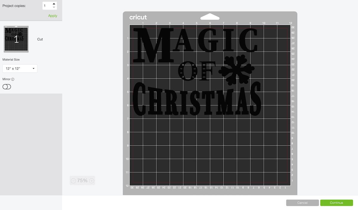 Cricut design program screen Magic of Christmas