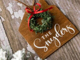 personalized wooden house Christmas ornament