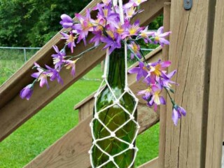 hanging wine bottle holder from macrame yarn