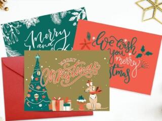 three Christmas card templates