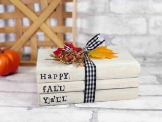 hand stamped books bundle tied with ribbon