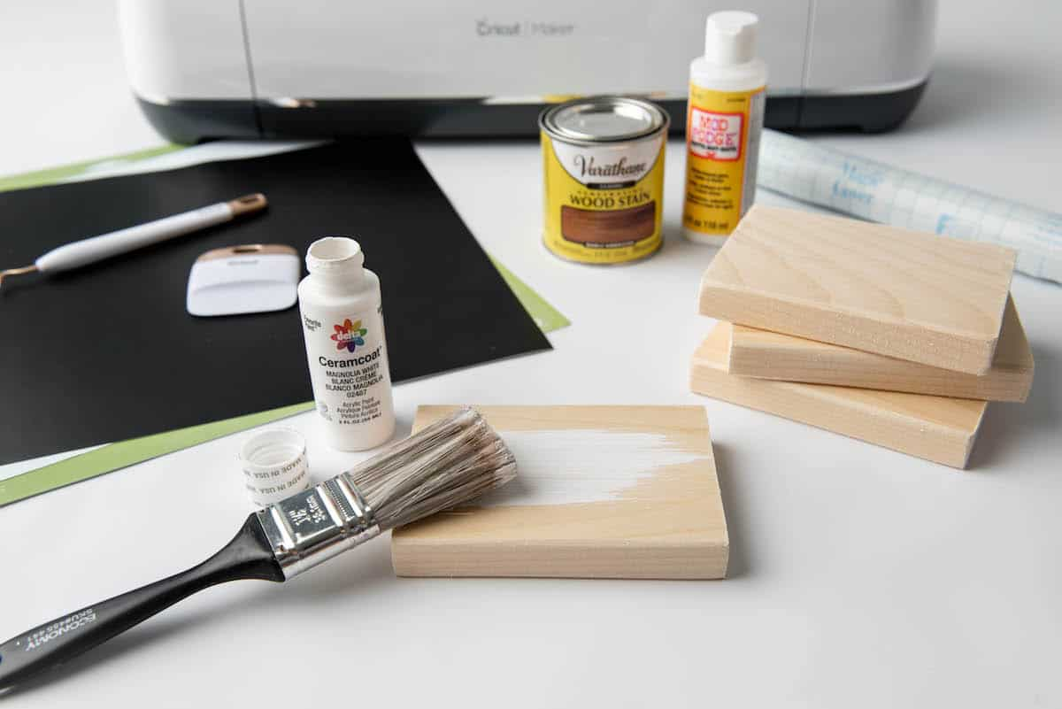 painting wooden book white