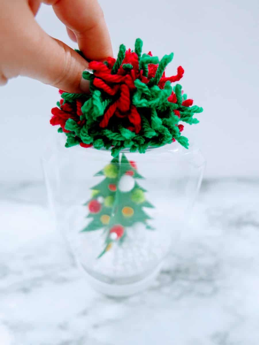 Red and Green Yarn Christmas Decoration