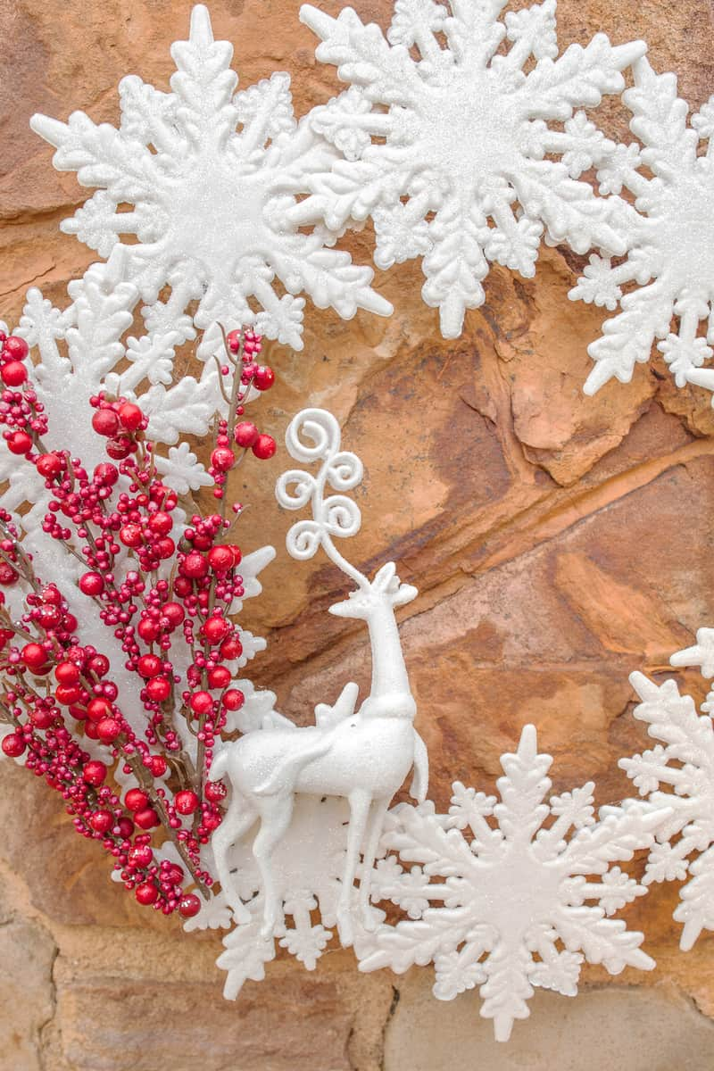 snowflake and deer wreath from the dollar store