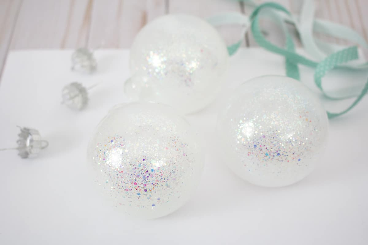 Clear Christmas Ornaments filled with glitter