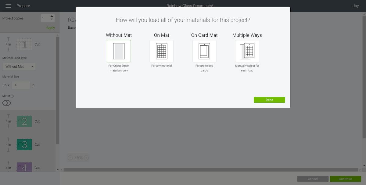 Cricut Materials Load Screen