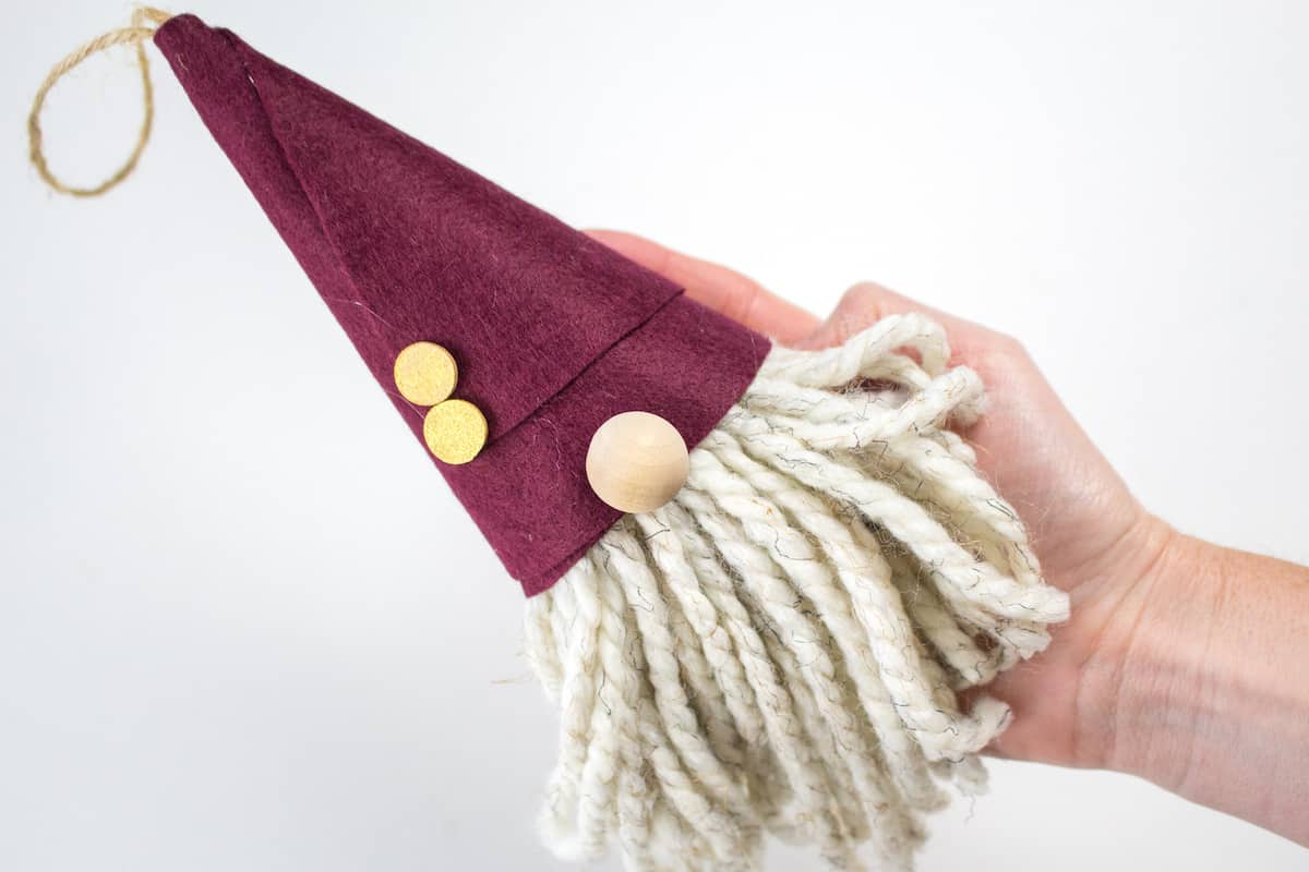 DIY Gnome Christmas Ornament in Hand