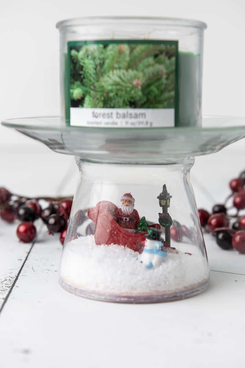 diy snowglobe Pedestal Candle Holder with Balsam Candle