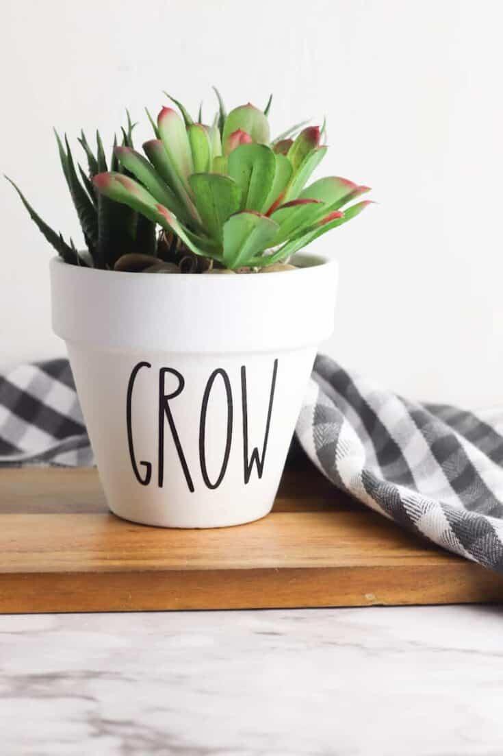 Grow White Planter Rae Dunn style