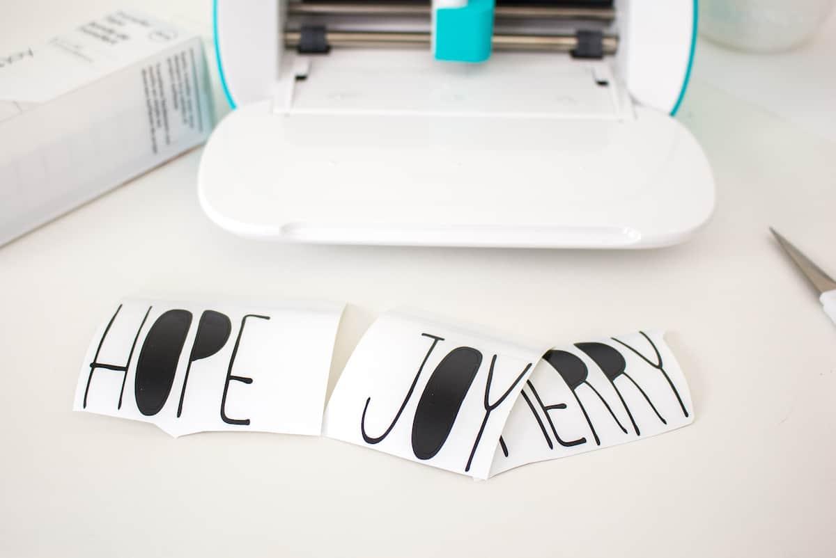 Hope Joy Merry Cricut Vinyl Letters